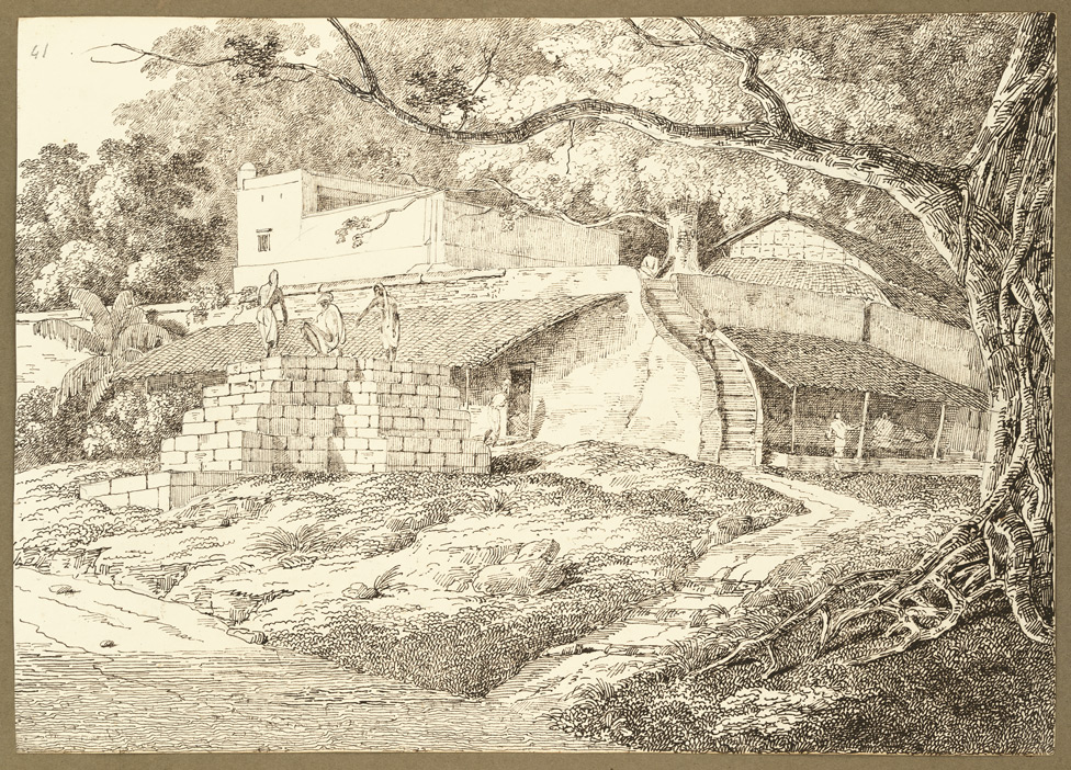 Village houses seen from the banks of the Ganges, Hajipur (Bihar). 18 March 1824